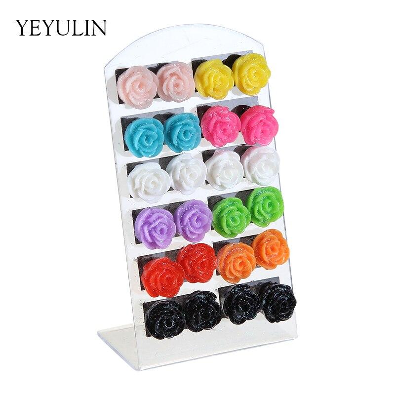 Trendy Cute 12pairs Colorful Rose Flower Stud Earrings Mini Resin Ears Jewelry Gift For Woman Girls
