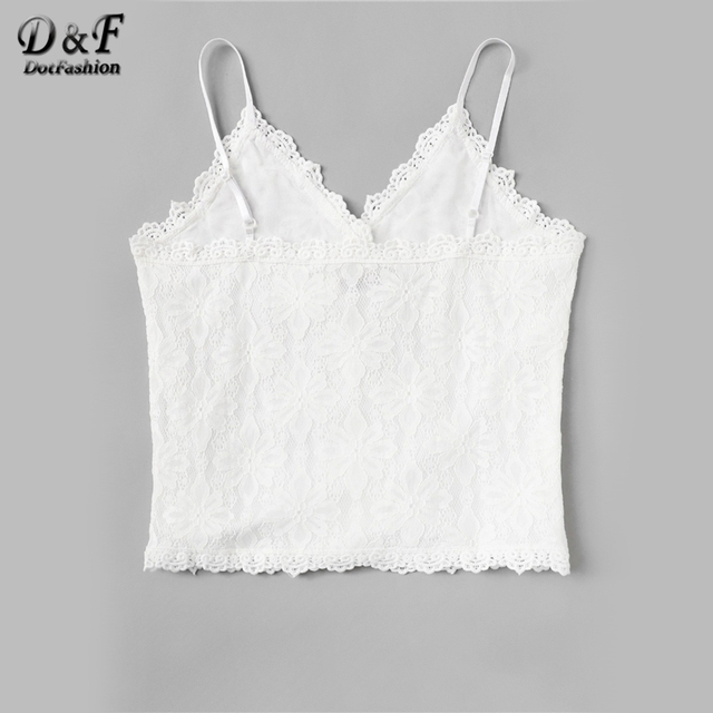 White Lace Panel Cami Top
