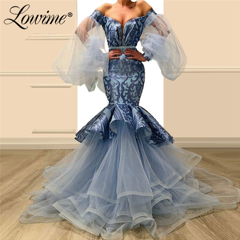 Sexy Mermaid   Evening     Dress   Arabic Robe De Soiree 2019 Off Shoulder Prom   Dresses   Tulle Dubai Arabic Kaftan Celebriey Party Gowns