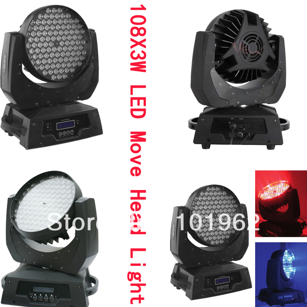 RGBW 108X3W LED Moving Head Flood Light Stage DJ Party Holiday Lighting