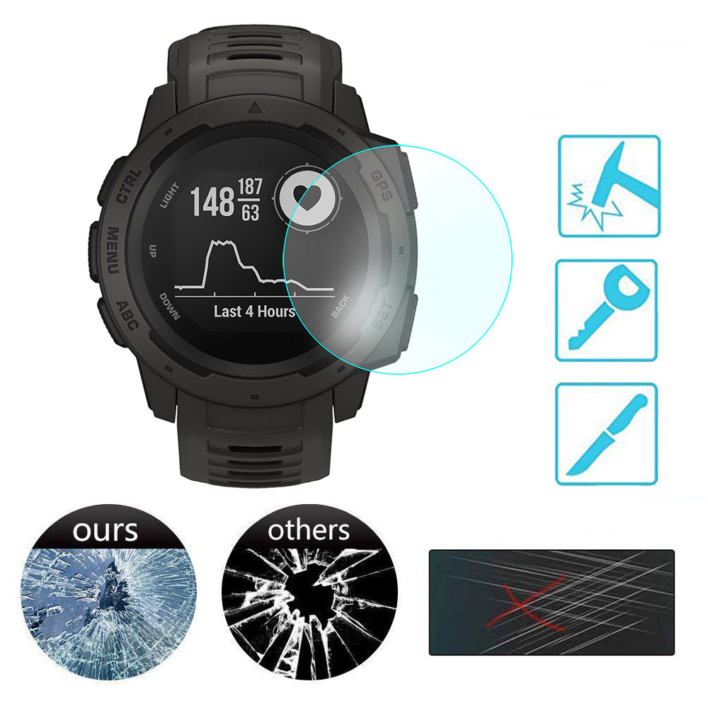 5PCS Full Screen Protector Film For Garmin Instinct Watch HD 9H 2.5D Tempered Protective Glass Explosion-proof Anti Scratch Film