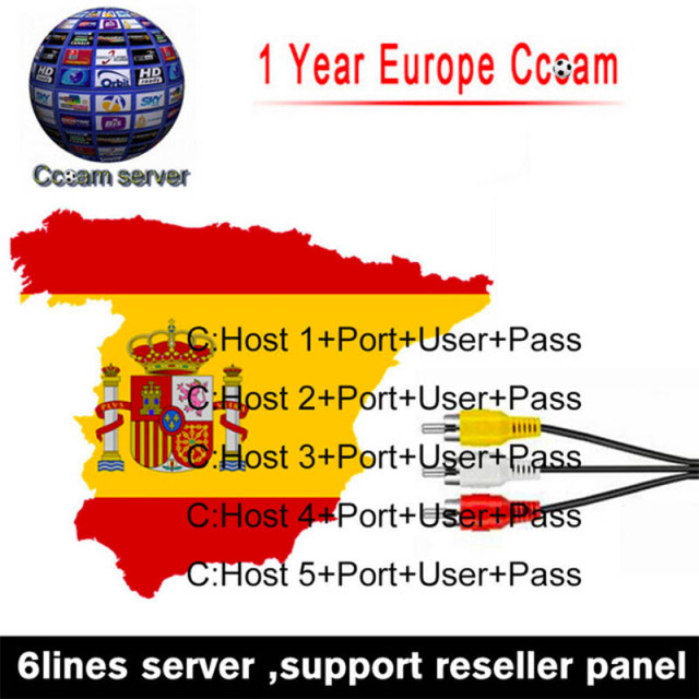 Europe HD cable 1 Year CCCam for Satellite tv Receiver 6 Clines WIFI FULL HD DVB-S2 dvb t2 Support Spain cline ccam Server