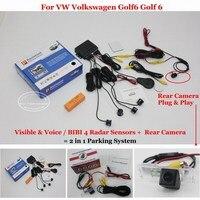 Liislee For Volkswagen VW Golf6 Golf 6 Car Parking Sensors + Rear View Camera = 2 in 1 Visual / Alarm Parking System
