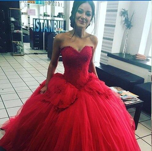 2016 haute qualit ch rie de l 39 paule robe de bal rouge. Black Bedroom Furniture Sets. Home Design Ideas