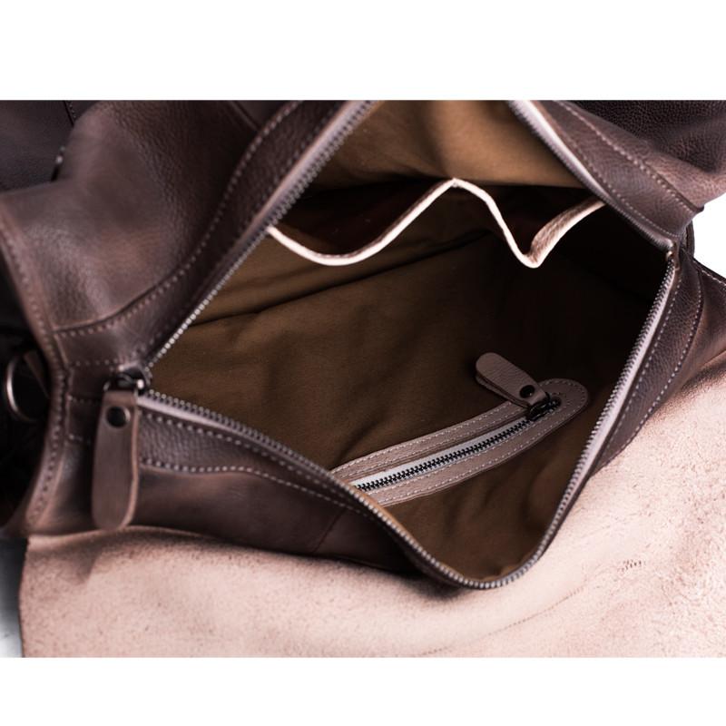 Handmade Vegetable Tanned Leather Tote Bag Travel Bag Overnight Bag 6