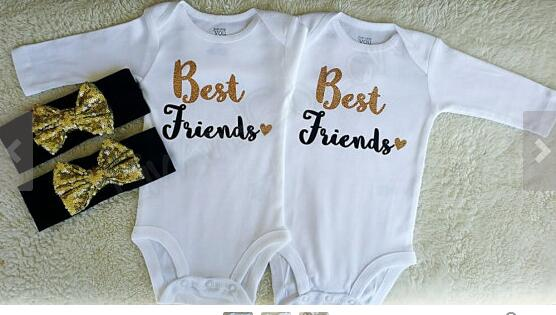 Online get cheap personalized baby girl gifts aliexpress personalized twin girl friend one piece newborn kids bodysuits headband baby shower birthday new year negle Images