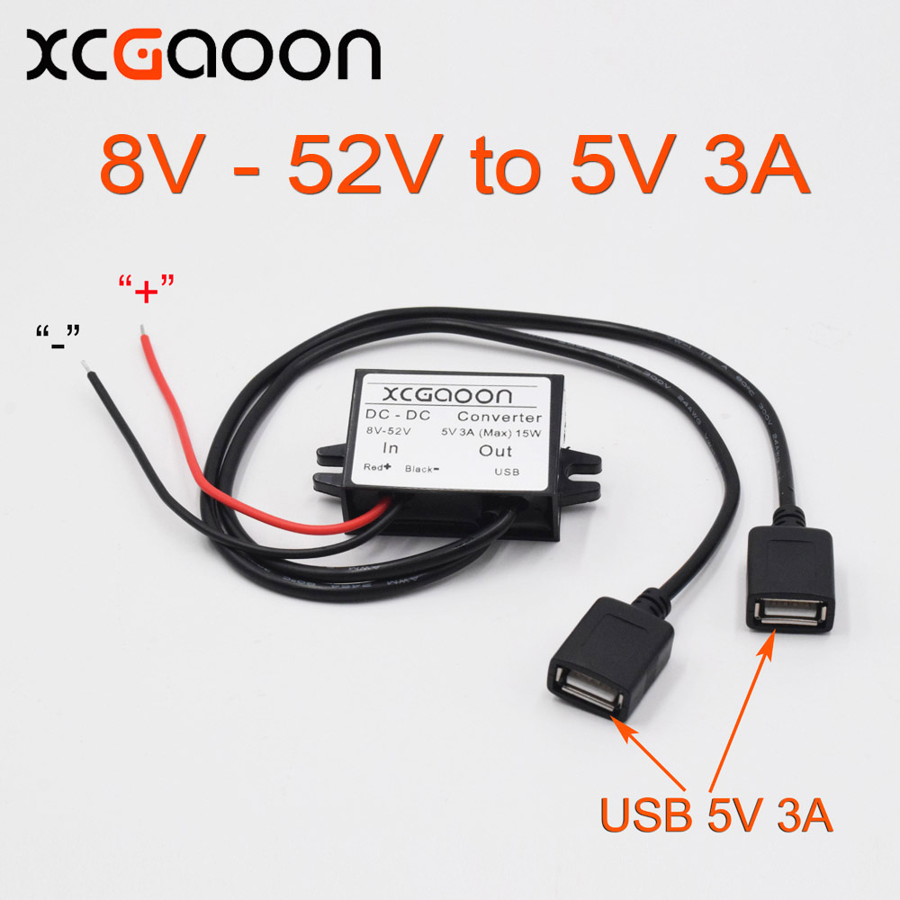 XCGaoon Dual 2 USB DC DC ממיר רכב מודול כבל קלט DC 12V 24V 48V ל USB Ouput 5V 3A 15W מתאם כוח