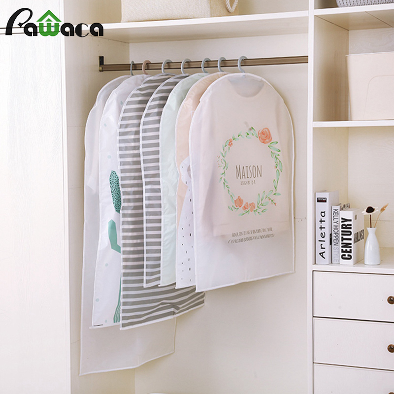 Waterproof Wardrobe Hanging Clothing Covers Cactus Stripe Garment Dress Clothes Suit Coat Dust Cover Storage Bag Pouch Organizer
