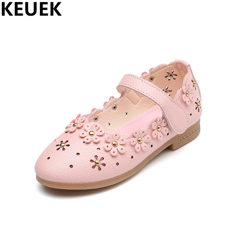 New Spring/Autumn Cut-Outs Flower Children Leather Shoes Girls Flats Princess Breathable Hook & Loop Baby Toddler Kids Shoes 033