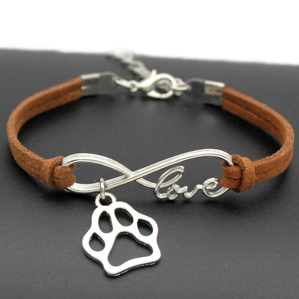 1pcs infinity handmade Women Stylish  Love Pets Dogs Lover Cat Animal Bear Paw Charms Pendant Bracelet Friendship Gift 7441