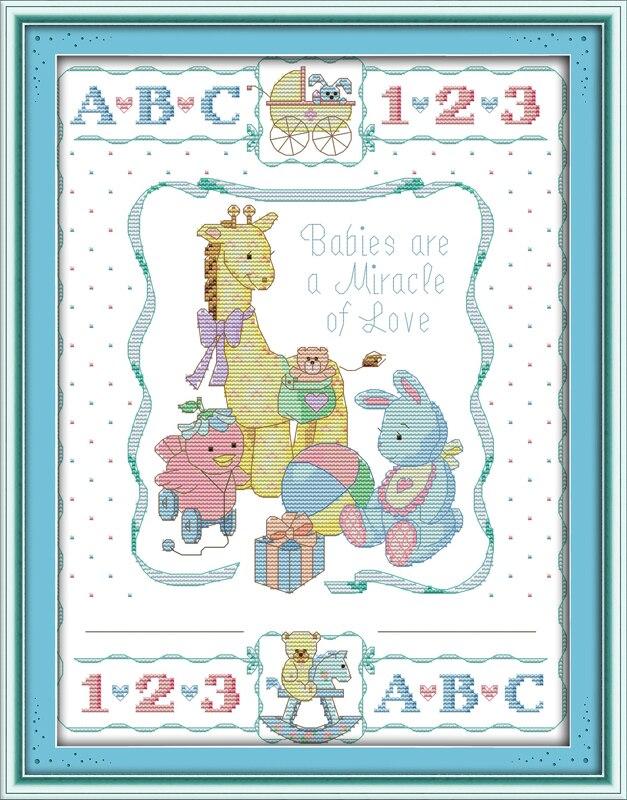 Certificado de nacimiento (2) Cruz puntada kit 14ct 11ct cuenta ...
