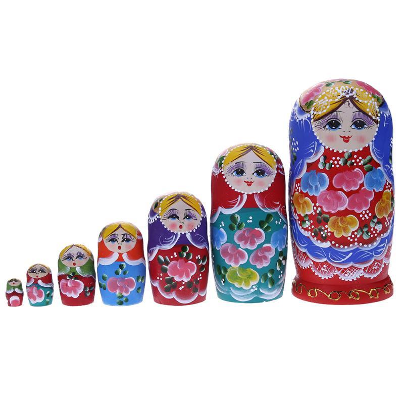 7 шт./компл. Симпатичные деревянные девушка Краски вложенности Куклы Матрешка ручной работы ремесел Игрушечные лошадки подарок на день рожд...