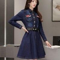 Plus Size Women's Jeans Dress 2017 Spring Autumn Fashion Casual Blue Slim Belts Full Length A Line Pleated Women Denim Dress