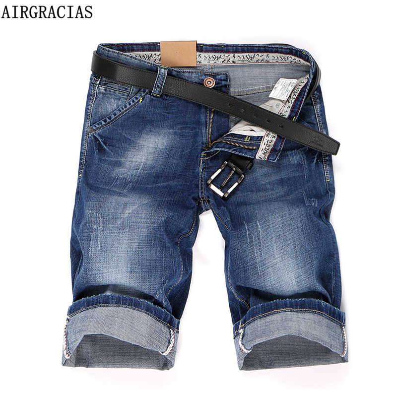 AIRGRACIAS 2018 Summer New Denim Shorts Men's   Jeans   Short Men High Quality Cotton Men Bermuda Straight   Jean   32 33 34 36 38 40