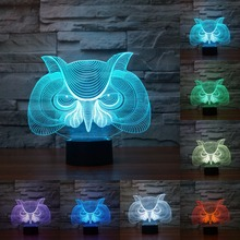 Creative Owl 7 Colors Change and 3d Touch Desk Lamp Table Light visual light Atmosphere Decoration lamp christmas gift IY803331