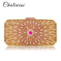 Роскошные золотые Кристалл цветок Для женщин вечерняя сумочка; BS010 павлин алмаз вечерние кошелек Для женщин цепи Сумки Свадебные сумка Ежед