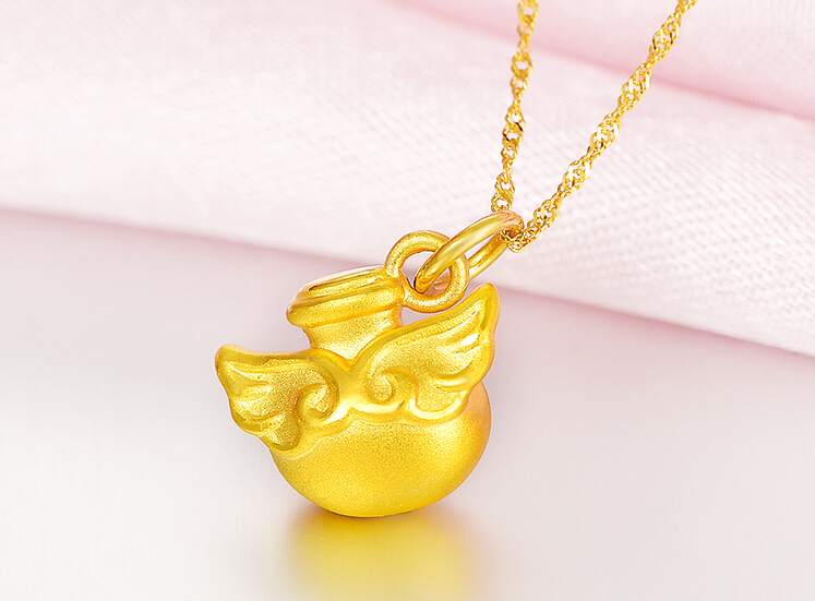 Pure 999 24k Yellow Gold Pendant 3D Women Lucky Angel Wing Bottle Pendant pure 999 yellow gold lucky 3d yuanbao chook bead pendant 1 17g
