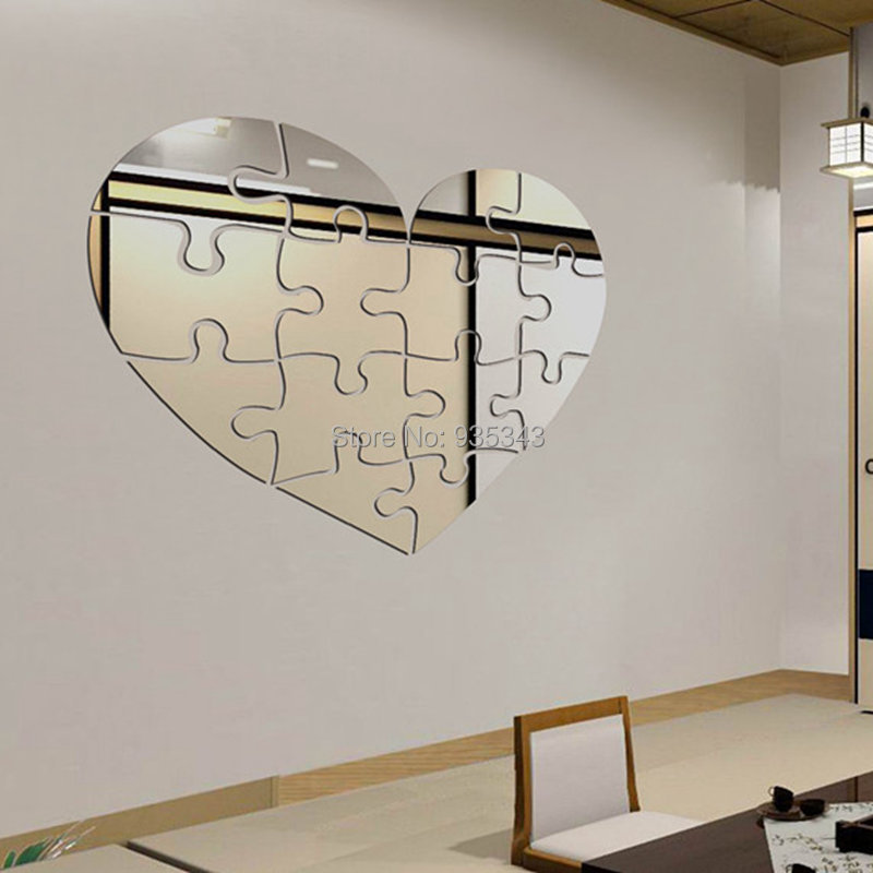 Big Size 80 * 67cm heart puzzle mirror stickers lliving room tv background Reflective DIY 3D home decoration mural wall sticker