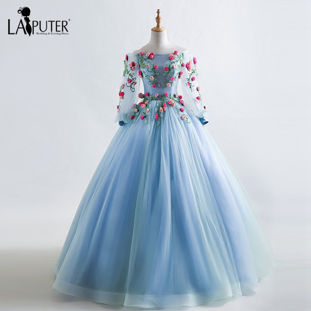e97cfe783487f Long Sleeves Off the Shoulder 3D Flowers Tulle Ball Gown Evening Prom  Dresses Floor Length Lace-up Back Blue Party Evening Dress