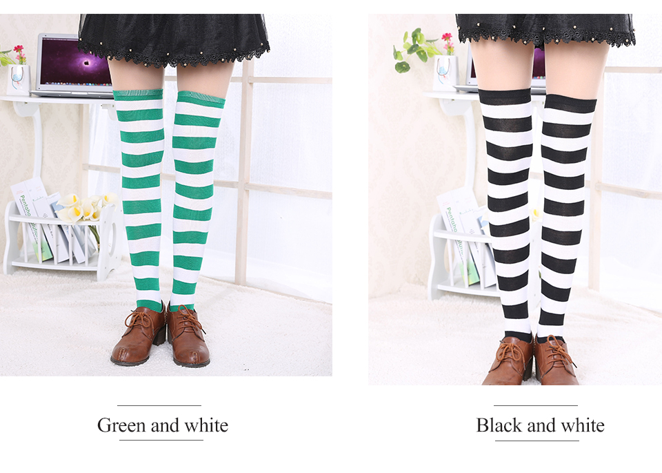 1Pair New Women's Over The Knee Large Size Stockings Sexy Thighs High Stripes Pattern Sock 6 Color Sweet Cute Warm Winter 2019 (4)