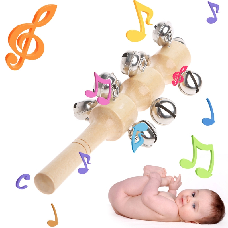 Wooden Handheld Sleigh Bells w/ 10 Metal Jingles Bell Percussion Musical Toys W15