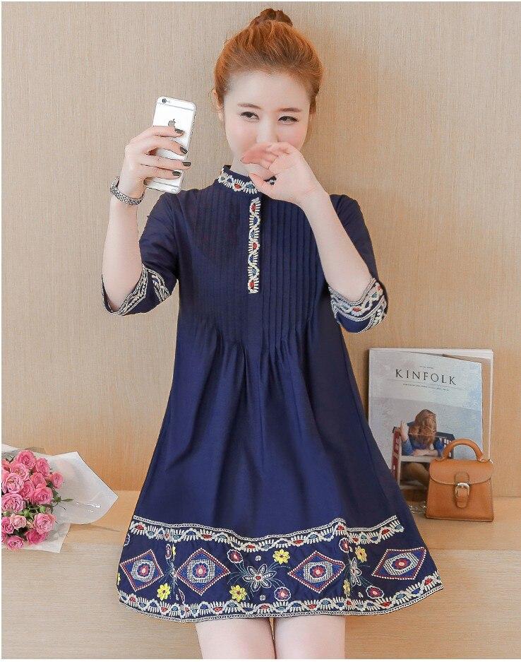 2017 New arrival girls fashion autumn style dresses women s casual embroidery blue slim dress elegant