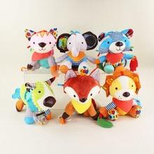 15cm 23cm Cute Cartoon Baby Toy Rattles Soft Comfort Plush Toy Animals Cat Dog Elephant Monkey