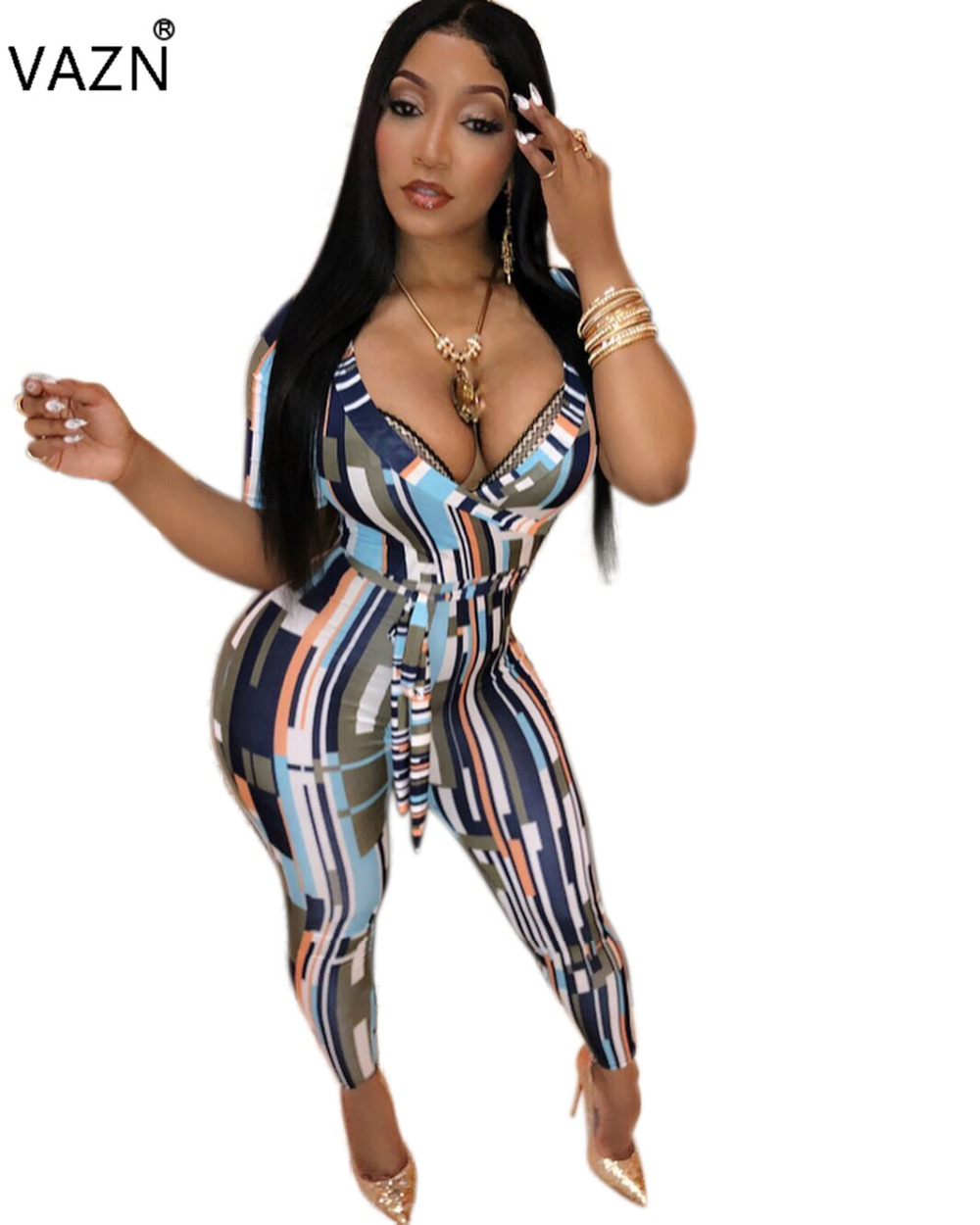 87f12994d0 VAZN 2018 autumn hot sexy print bodycon jumpsuits women v-neck short sleeve jumpsuits  ladies