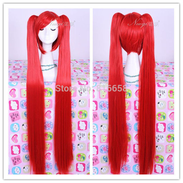 FREE SHIPPING>****^^ fast shipping@@VOCALOID Hatsune Miku Cosplay 100CM Long Red 2 Clip On Ponytails Hair Wig