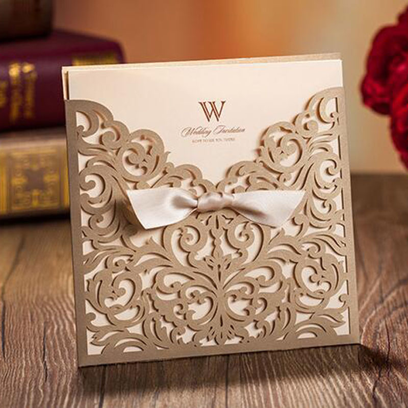 10pcs/lot White/Gold Square Laser Cut Flower with Bowknot Lace Pocket Engagement Wedding Invitations Card Event & Party Supplies 1 design laser cut white elegant pattern west cowboy style vintage wedding invitations card kit blank paper printing invitation