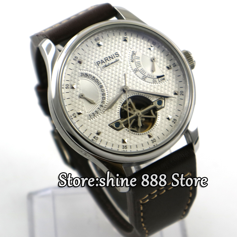 Parnis 43mm power reserve white dial movement ST2505 Automatic movement Men's watch