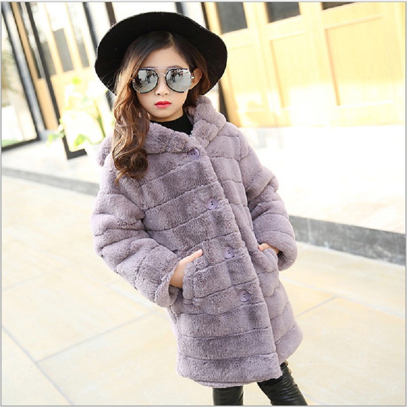 2018 New Winter Girls Fleece Faux Fur Coats Clothing Children Long Sleeves Plush Thick Warm Jacket Outwear Kawaii Ears Tops