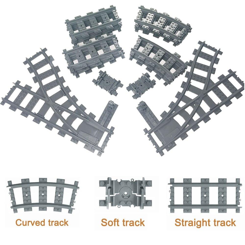 City Trains Train Track Rail Straight & Curved Rails Building Blocks Set Bricks Model Kids Toys Compatible Major Brand