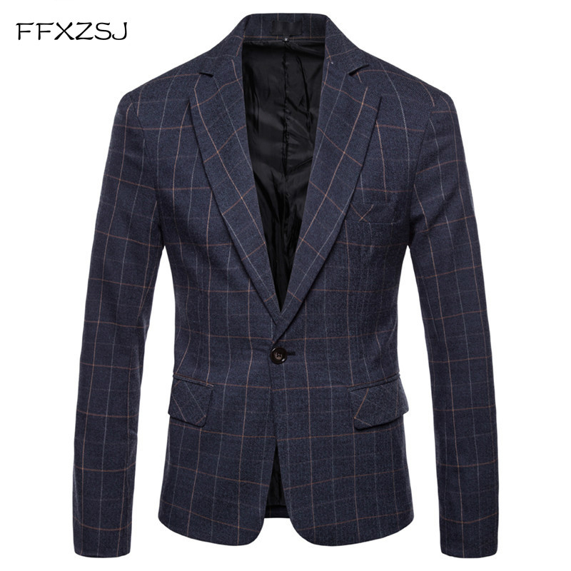 FFXZSJFashion Men Blazer Casual Suit Slim Fit Suit Jacket Men Business Spring Autumn Costume Homme Terno Masculin Leisure Blazer