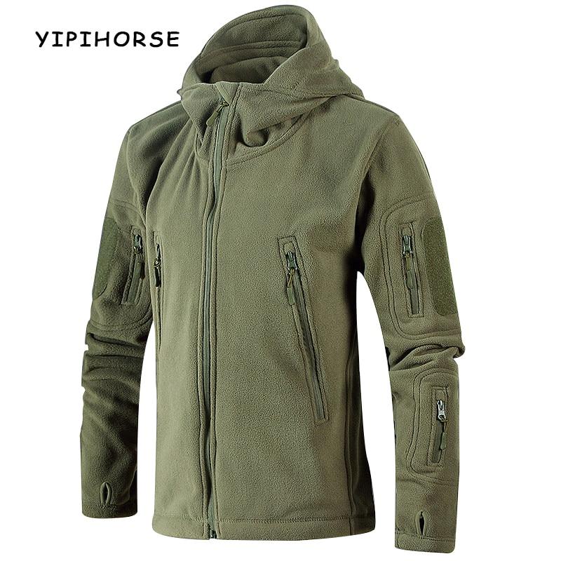 YIPIHORSE Winter Warm Outerwear Casual Hoodie Coat Jacket Military Tactical Fleece Jacket Men Camouflage Sportswear Windbreaker