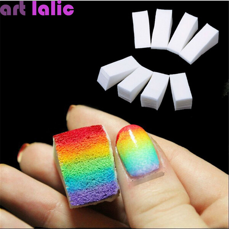 8pcs New Woman Salon Nail Sponges For Acrylic Makeup Manicure Nail Art Accessory Gradient Tips DIY