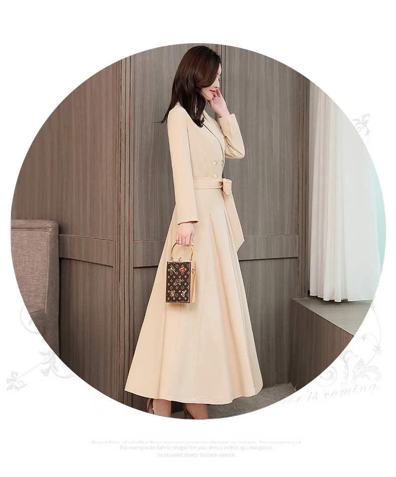 Spring and Autumn 2019 New Women's Dresses Korean Edition Long Sleeve Dresses Overlap Long Popular Temperament with Bottom 142