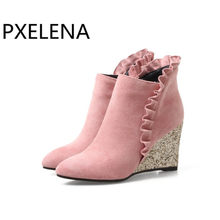 PXELENA Ruffles Bling Sequined Women Wedding Ankle Boots Wedge High Heels Bride  Shoes Pink Red 2018 32134ff3304c