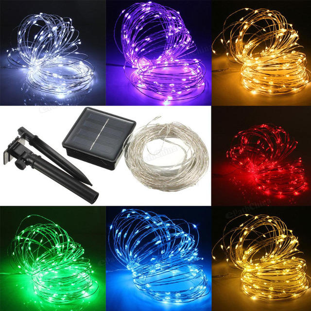 22M 150 LED Solar Powered Silver Wire String Fairy Light Xmas Party Decor