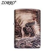 Zorro Windproof Metal Oil Cigarette lighter Smoking Fuel Lighters Unfilled Kerosene Lighter Gift Classical Vintage