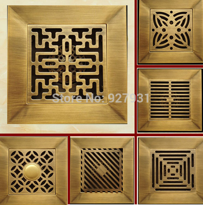 Free Shipping 14cm Square Engineering Floor Drain Antique Brass 5 5 inch Bathroom Floor Waste Drain