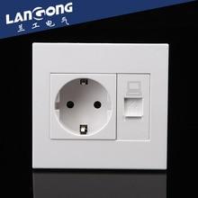 EU Household  wall socket with Internet Socket outlet  250v 16A