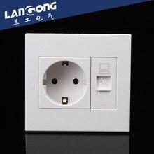 Eu Huishoudelijke Stopcontact Met Internet Stopcontact 250 V 16A