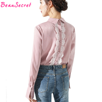 2018 Spring New Elegant Back Lace Patchwork Shirts Flare Long Sleeve Office Ladies Designed Casual Blouse