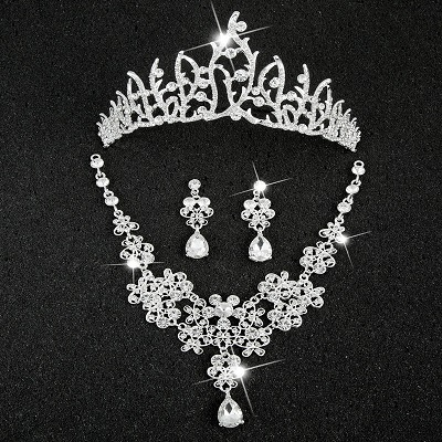 Hot Sale Sliver Plated Rhinestone Crystal Necklace+Earrings+Tiara 3pcs Jewelry Set For Bride Bridal Wedding Accessories (20)