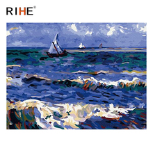 RIHE Sea Wave Diy Painting By Numbers Abstract Boat Oil Painting On Canvas Cuadros Decoracion Acrylic Wall Picture Home Decor rihe fall park diy painting by numbers chair woman oil painting on canvas cuadros decoracion acrylic wall picture home decor