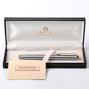Image 2 - Luxo 14k ouro caneta fonte wingsung 90s metal f nib 0.5mm presente canetas com uma caixa de presente escritório de negócios escrever artigos de papelaria