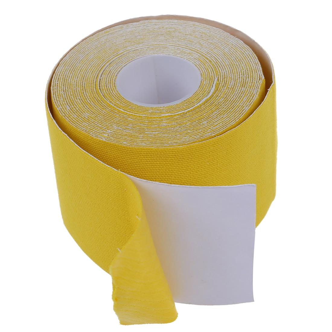 Новая распродажа 1 рулон Спортивной Кинезиологии мышцы уход Фитнес спортивные здоровья ленты 5 м * 5 см-желтый
