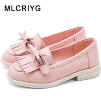 2019 Autumn Kids Bow Genuine Leather Shoes Children Black Shoes Baby Girls Princess Flats Tassel Loafer Fashion Soft Moccasin