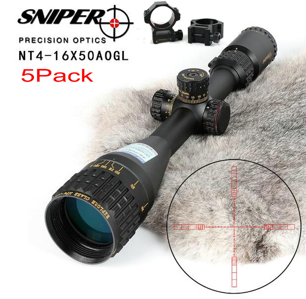 5PC SNIPER NT 4-16X50 AOGL Hunting Riflescopes Tactical Optical Sight Full Size Glass Etched Reticle RGB Illuminated Rifle Scope5PC SNIPER NT 4-16X50 AOGL Hunting Riflescopes Tactical Optical Sight Full Size Glass Etched Reticle RGB Illuminated Rifle Scope